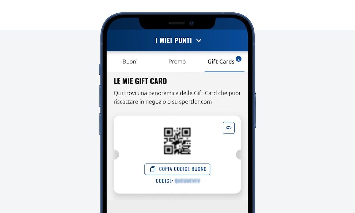 Schermata Gift Card sull'app SPORTLER