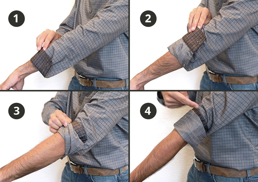 Der Ärmel eines karierten Hemdes wird in vier Bildern gekrempelt.