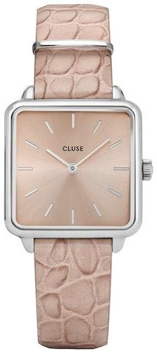 Cette montre CLUSE se compose d'un boîtier Carré de 28.5 mm et d'un bracelet en Cuir Beige
