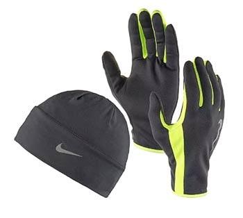 Handschuhe und Mütze zum Laufen im Winter