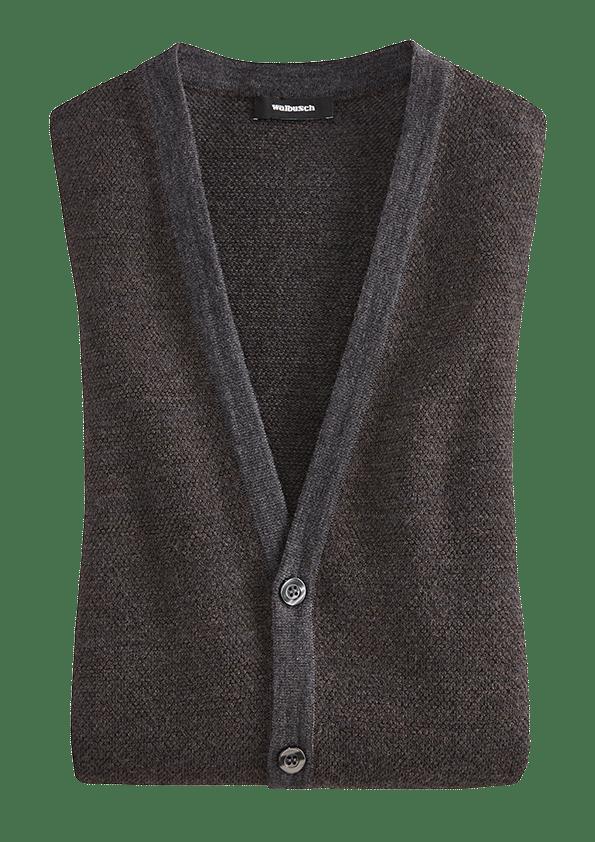 Dunkelblaue Strickjacke mit V-Ausschnitt.