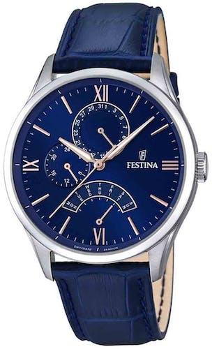 Cette montre FESTINA se compose d'un Boîtier Rond de 43 mm et d'un bracelet en Cuir Bleu