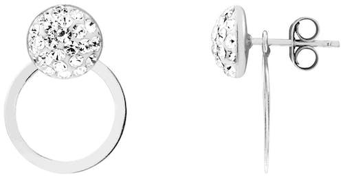 Ces Boucles d'oreilles CLEOR sont en Argent 925/1000 et Cristal Blanc