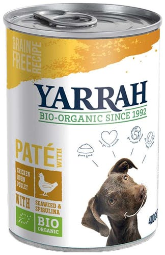Yarrah - Nassfutter - Bio Paté mit Huhn, Seetang & Spirulina (getreidefrei)