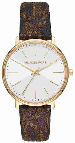 Cette montre MICHAEL KORS se compose d'un boîtier Rond de 42 mm et d'un bracelet en Silicone Marron