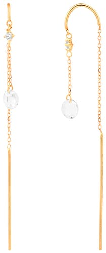 Ces Boucles d'oreilles CLEOR sont en Or 375/1000 Jaune et Topaze Blanc