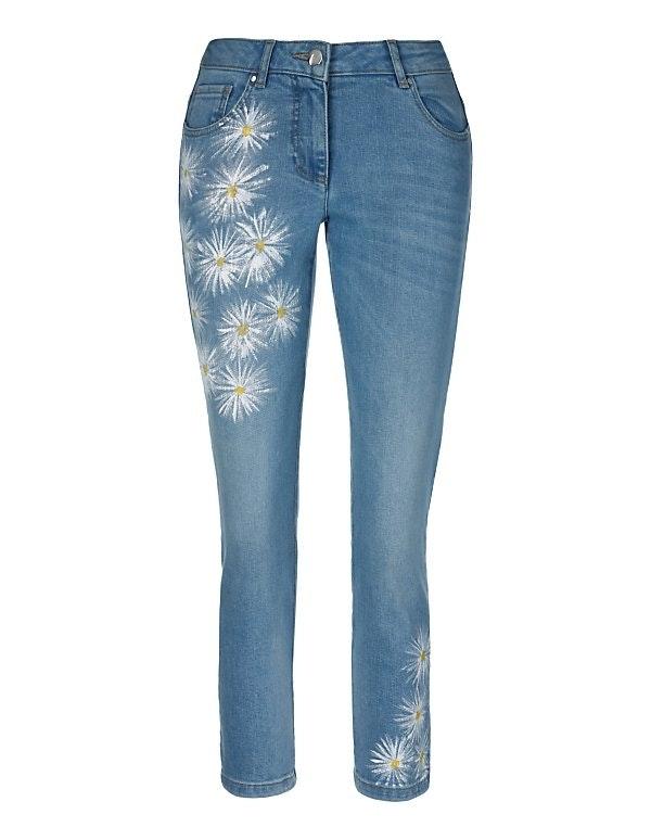 Handbemalte Slimline-Jeans in 7/8-Länge