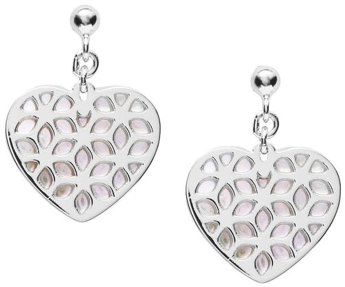 Ces Boucles d'oreilles FOSSIL sont en Argent 925/1000 Blanc et Nacre Blanc en forme de Cœur