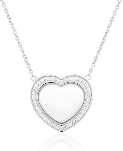 Ce Collier CLEOR est en Argent 925/1000, Céramique Blanche et Oxyde en forme de Cœur