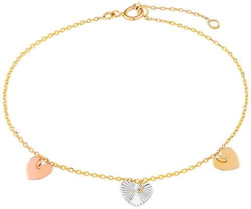 Ce Bracelet CLEOR est en Or 375/1000 Multicouleur en forme de Cœur