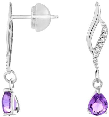 Ces Boucles d'oreilles Pendantes CLEOR sont en Or 375/1000 Blanc et en Améthyste,Oxyde Violet