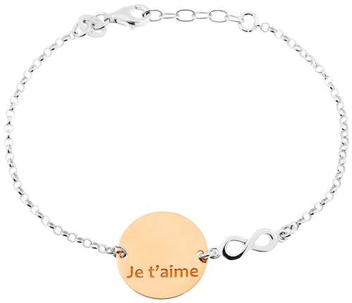 Ce Bracelet CLEOR est en Argent 925/1000 Bicolore en forme de l'Infini  -
