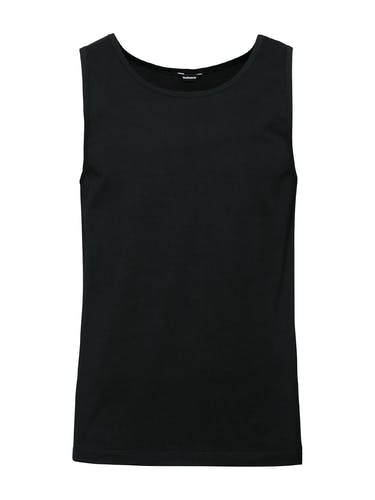 Schwarzes Unterhemd ohne Ärmel.
