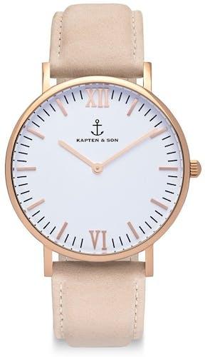 Montre KAPTEN & SON CLASSICS Femme avec Boitier Rond 36 mm et Bracelet Cuir Blanc