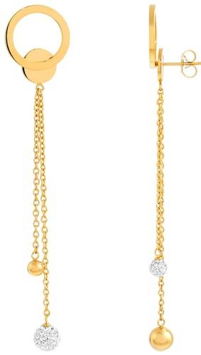 Ces Boucles d'oreilles MISSISSIPI sont en Acier Doré et Cristal Blanc  -