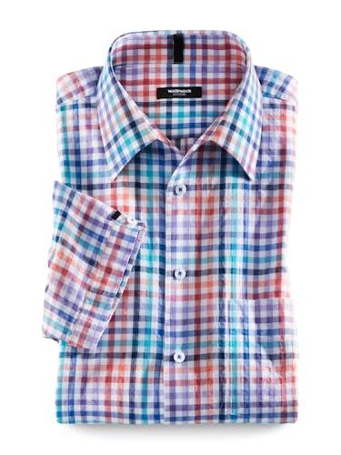 Hemd mit Karomuster in Blau und Rot.