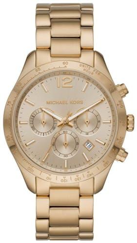 Cette montre MICHAEL KORS se compose d'un boîtier Rond de 42 mm et d'un bracelet en Acier Jaune