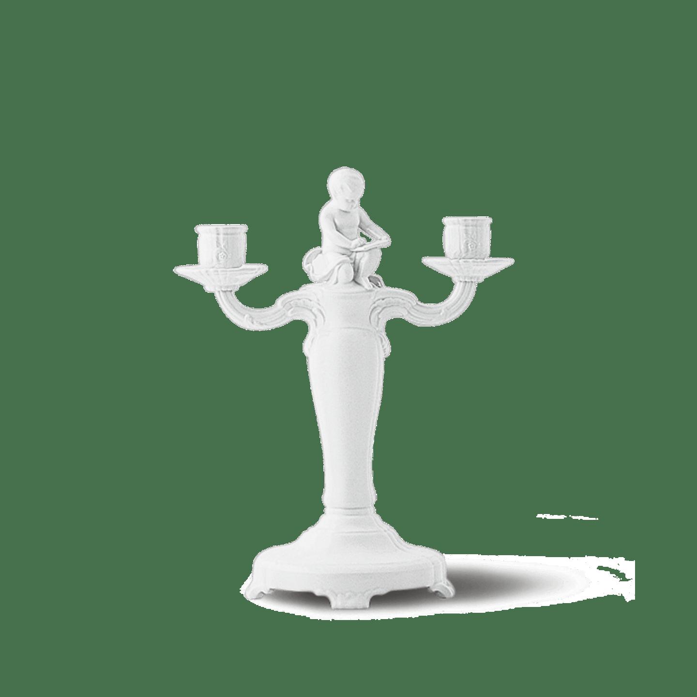 Leuchter 2-armig, ROCAILLE, Putto schreibend