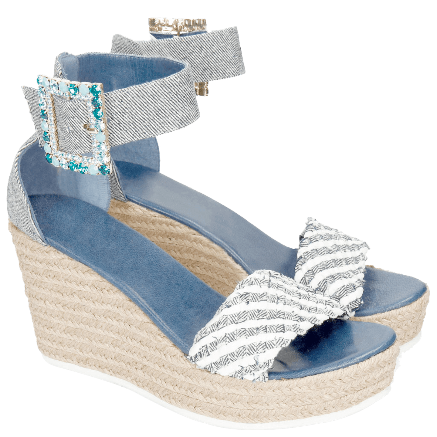 Abby 2 Denim Light Blue Raffia White