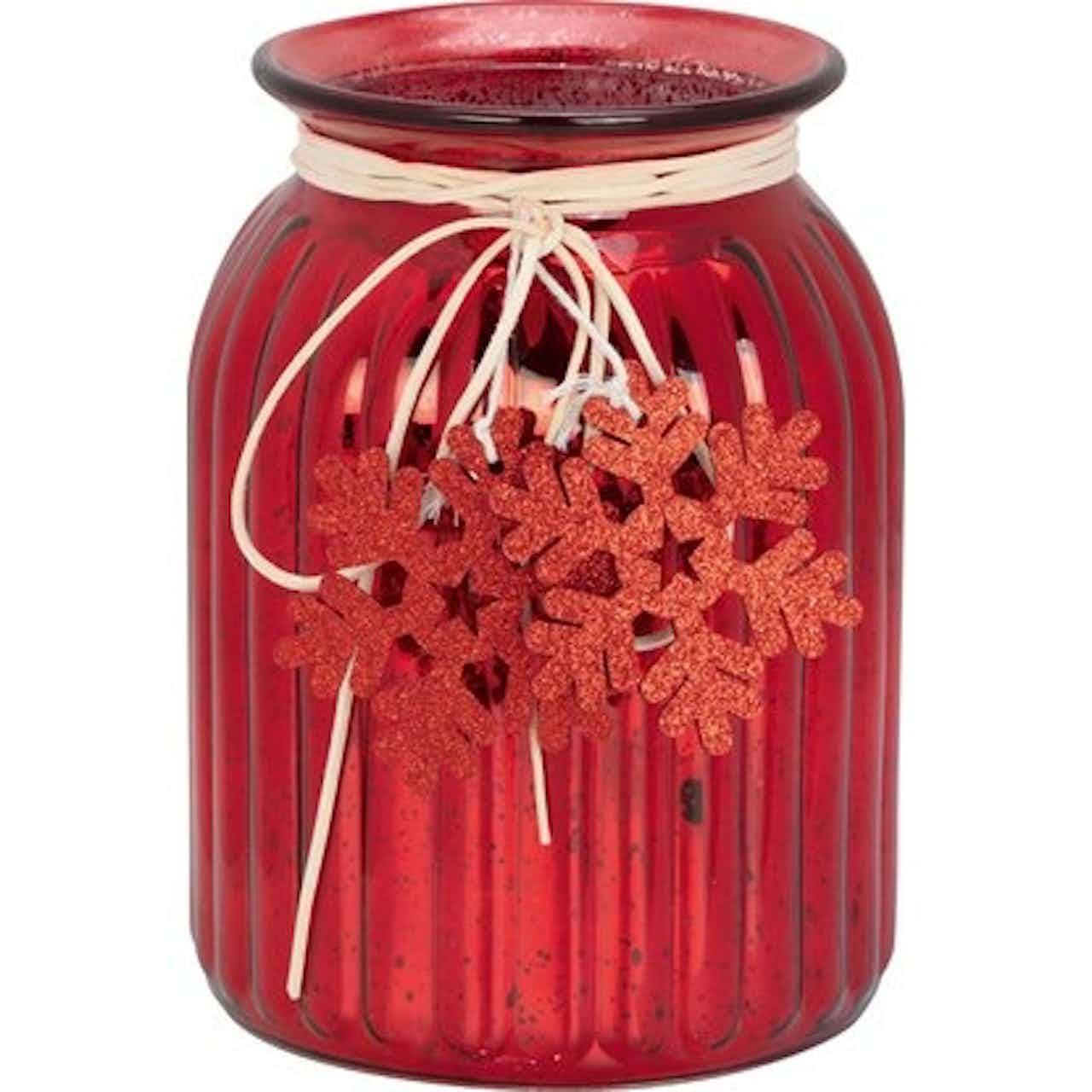 Üveg mécsestartó hópelyhes mintával piros