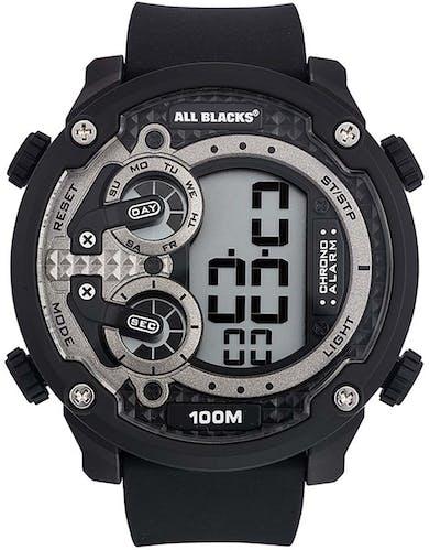 Montre ALL BLACKS Homme avec Boitier Rond 52 mm et Bracelet Silicone Noir