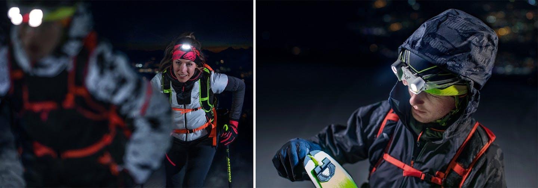 Atleti risalgono la montagna in notturna