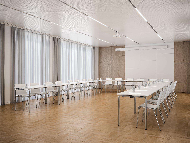 Salle de réunion avec sièges en forme U