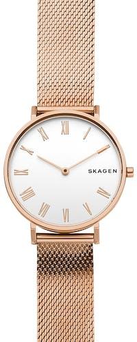 Cette montre SKAGEN se compose d'un Boîtier Rond de 34 mm et d'un bracelet en Acier Rose