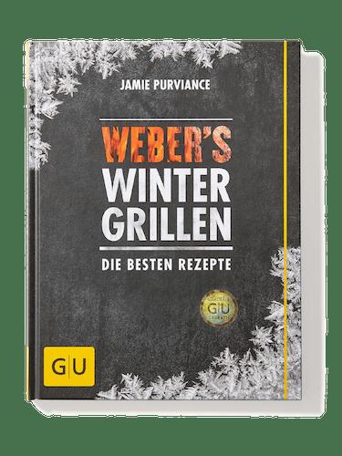 Schwarzes, gebundenes Buch mit der Überschrift »Weber's Wintergrillen – die besten Rezepte«.
