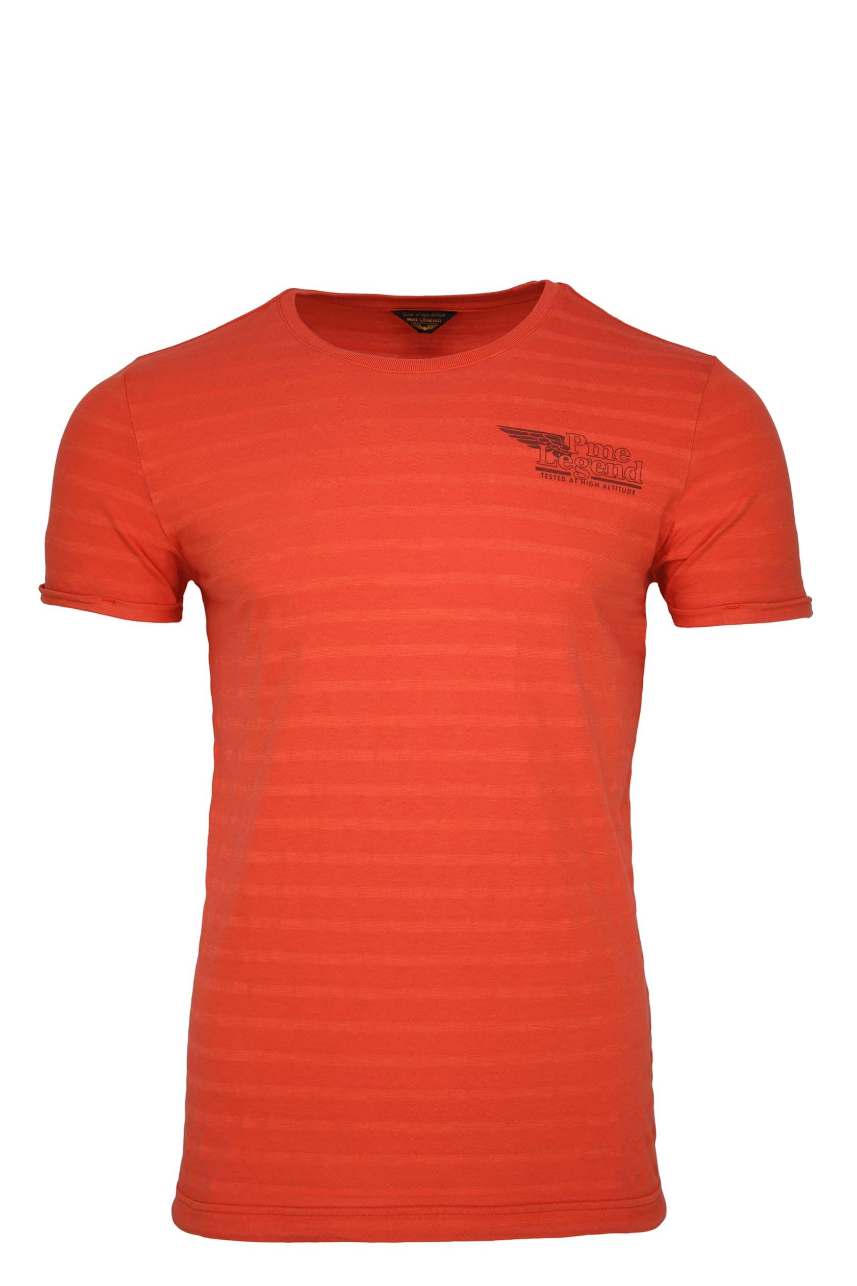 oranges T-Shirt mit angedeuteten, hellen Querstreifen für Herren von PME