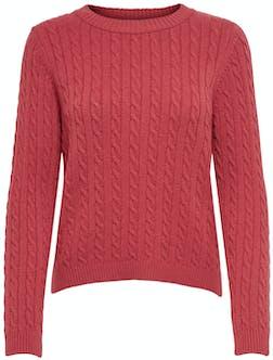 roter Pullover mit Zopfmuster von Only