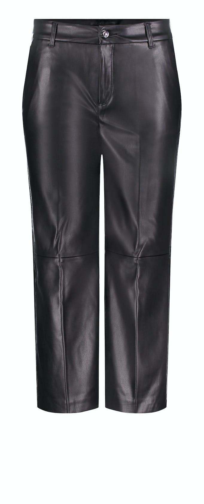 schwarze, weite Hose aus Lederimitat von Mac