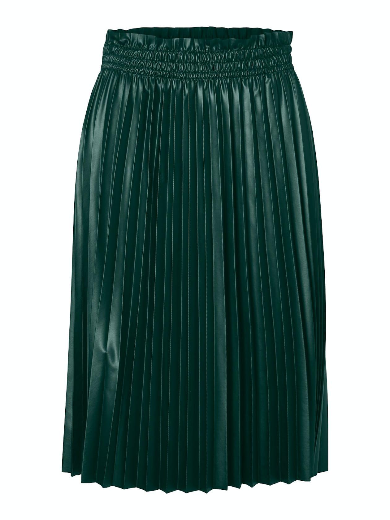 dunkelgrüner Plisseerock aus Lederimitat von Vero Moda
