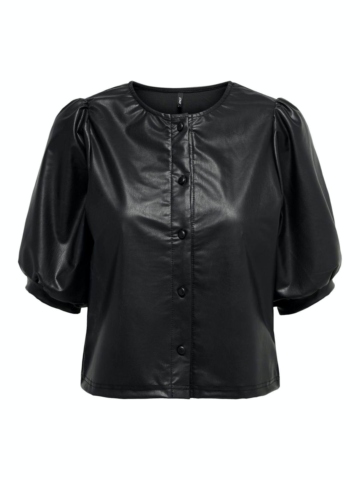 schwarze cropped Bluse aus Lederimitat von Only