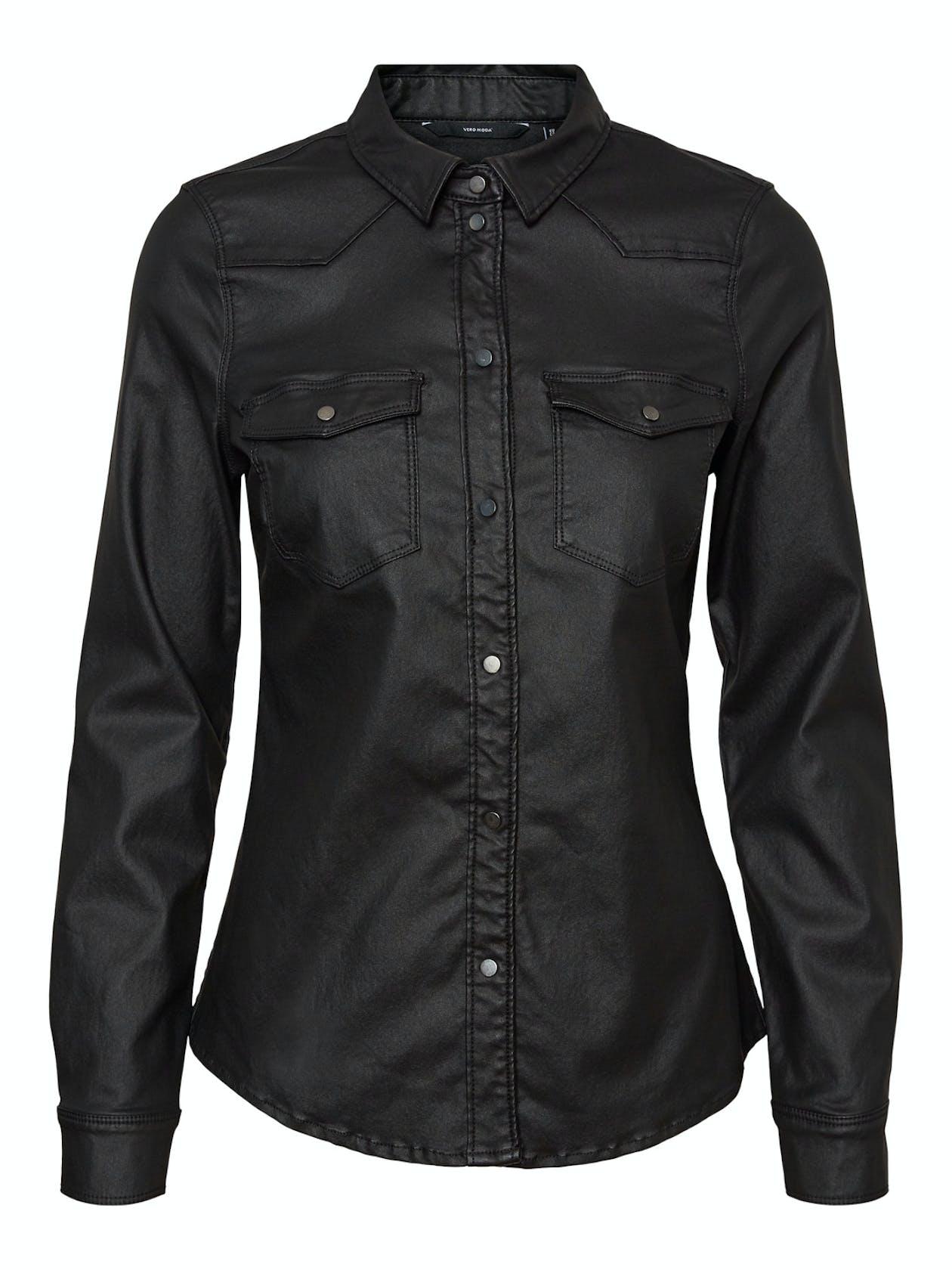 schwarzes Hemd aus Lederimitat von Vero Moda