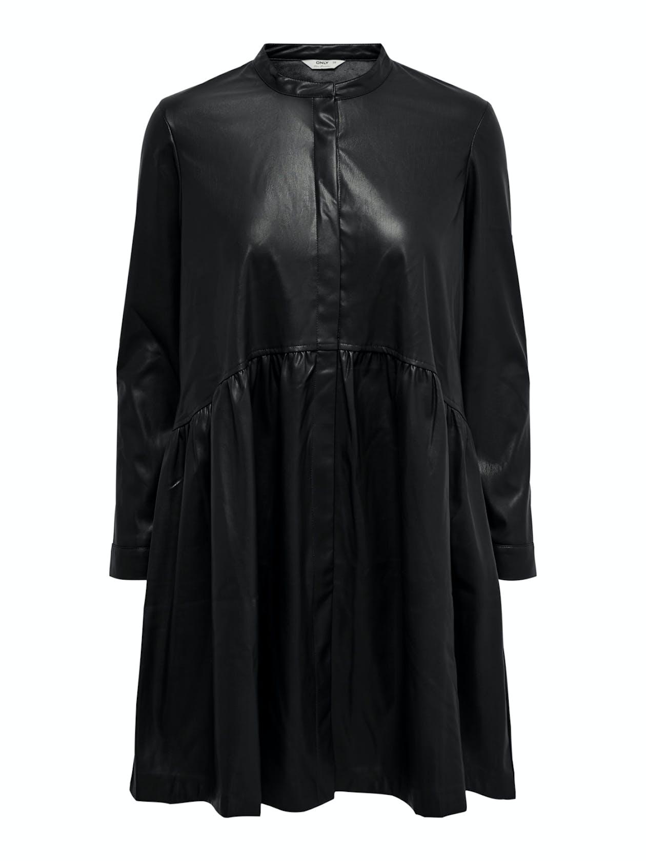 schwarzes, leicht ausgestelltes Kleid aus Lederimitat von Only