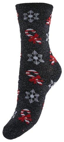 Graue Socken mit Weihnachtsmotiven