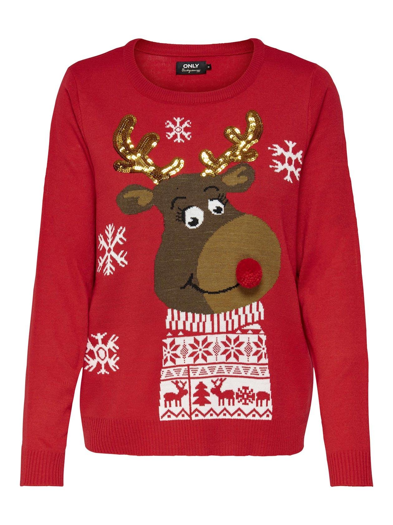 roter Weihnachtspullover mit Rentier für Damen von Only