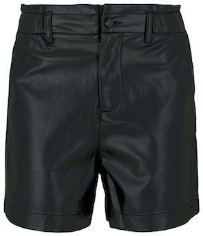 schwarze Shorts in Lederoptik