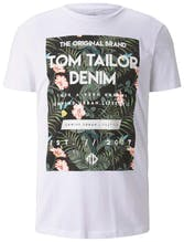 weißes T-Shirt mit Aufdruck mit Tropenmuster von Tom Tailor Denim