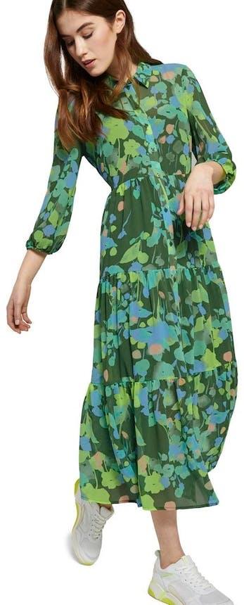 Maxikleid mit grünem Muster von Tom Tailor Denim