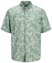 kurzärmliges Hemd von Jack & Jones in grün mit Tropenmuster in weiß