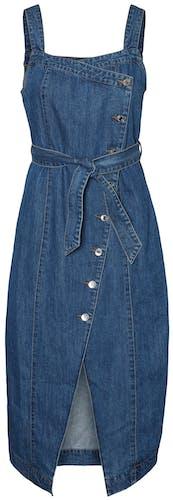 Jeanskleid mit Gürtel zum schnüren und angedeuteter Knopfleiste