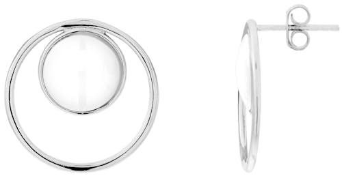 Ces Boucles d'oreilles CLEOR sont en Argent 925/1000 Blanc et Céramique Blanc