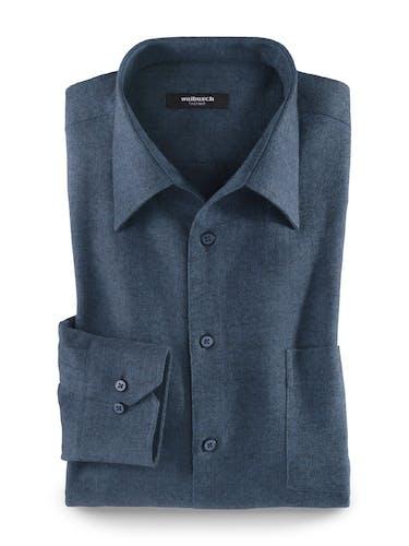 Dunkelblaues Hemd mit drei Knöpfen, Manschetten und einer Brusttasche.