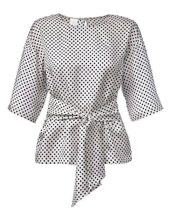 Pünktchen-Bluse aus Seide