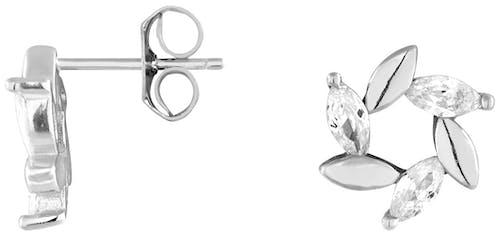 Ces Boucles d'oreilles CLEOR sont en Argent 925/1000 et en Oxyde Blanc