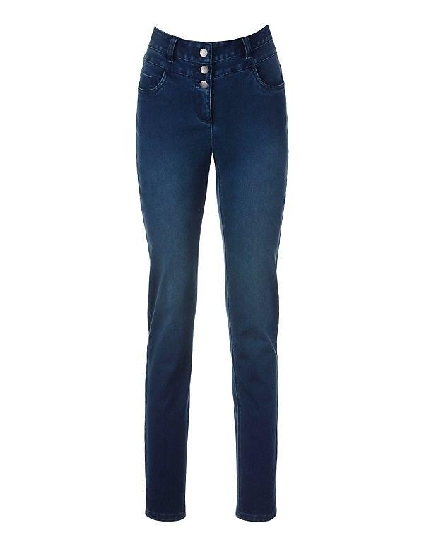 Enge Jeans mit hohem Bund