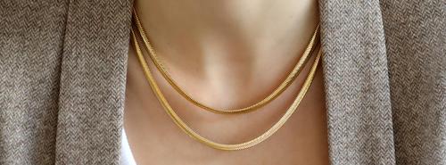 Snake chain vergoldet Trend Damen Halskette