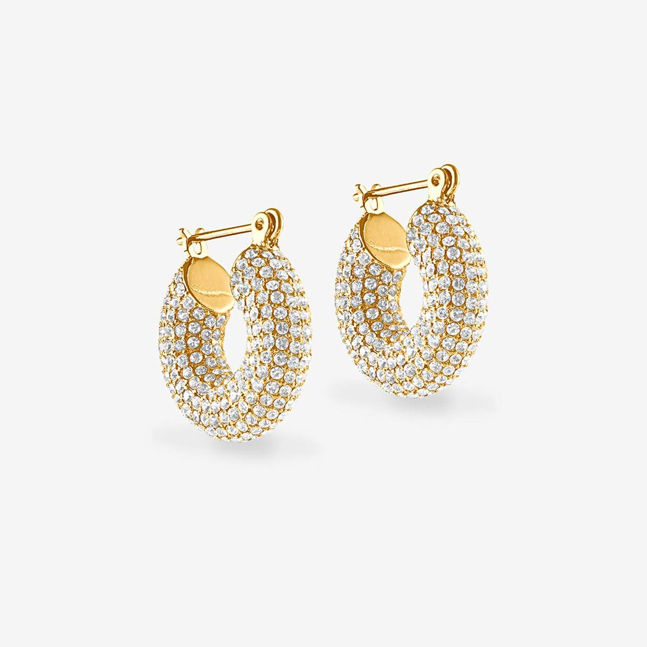Pave Mini Donut Hoops - Creolen - Gold
